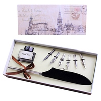 Antique Quill Feather Dip Pen Writing Set Stationery Gift Box With 6 Nib Wedding Gift Quill