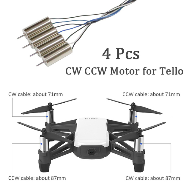 4Pcs/Set for DJI Tello Clockwise Motor and Counterclockwise Motor for DJI TELLO CW CCW RC Motor Repair Part Accessories