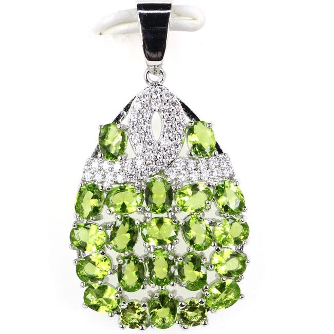 Stunning Pear Shape Green Peridot White CZ Woman's 925 Silver Pendants 35x20mm
