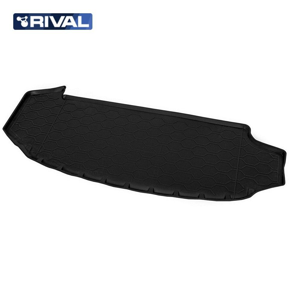 For Skoda Kodiaq 2017-2019 (7-seats) trunk mat Rival 15105003 коврик багажника rival для skoda kodiaq 7 мест 2017 н в полиуретан 15105003