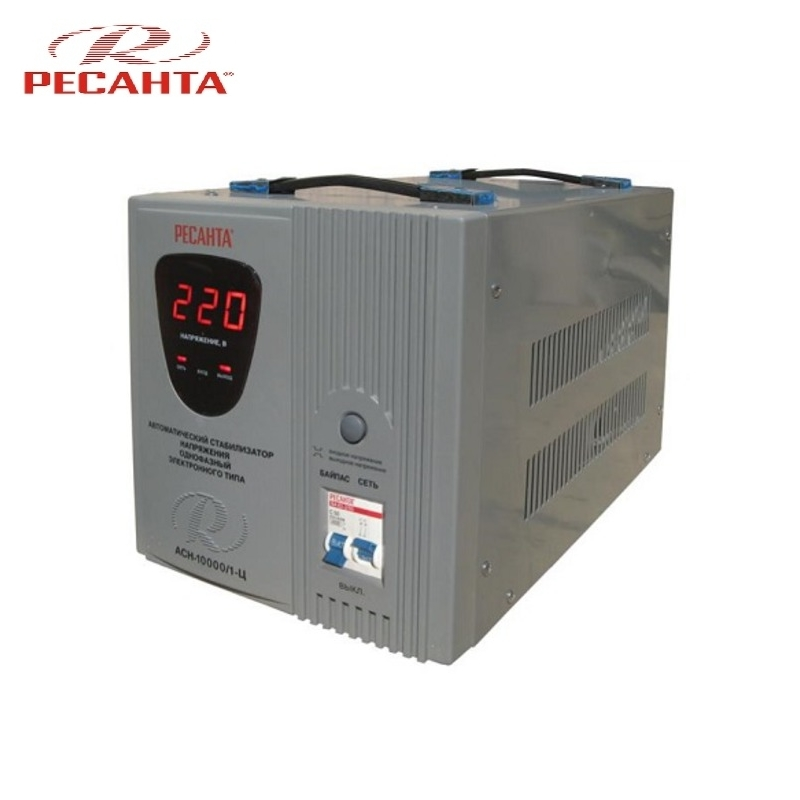 Single phase voltage stabilizer RESANTA ASN-10000/1-C Relay type Voltage regulator Monophase Mains stabilizer Surge protect voltage regulator resanta asn 12000 n1 c