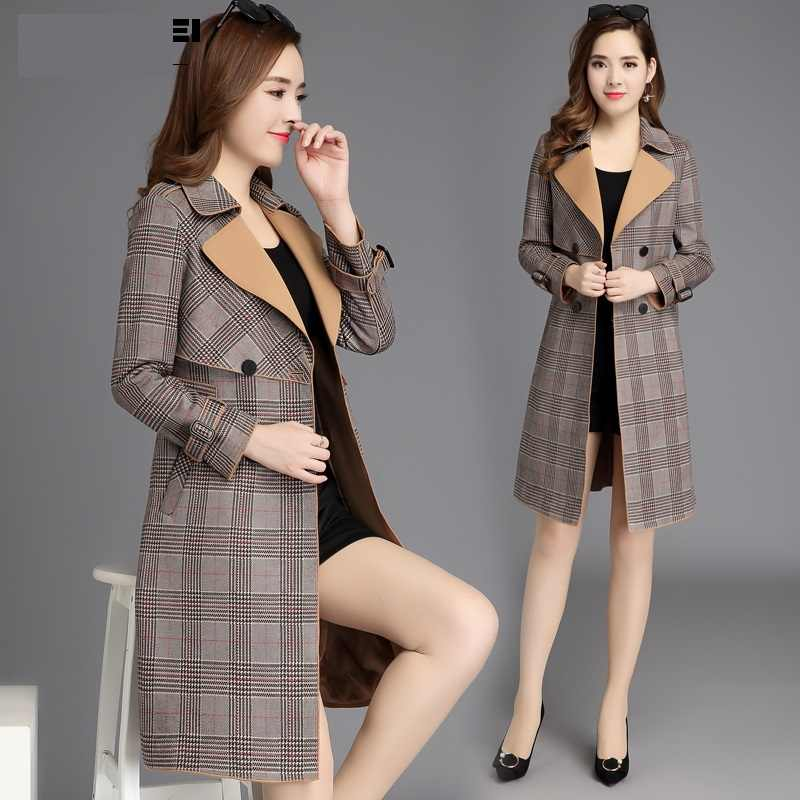 Stylish clothes Women autumn clothes Long overcoat womens high quality Autumn trench coat Korean fashion Checkered coats B4077
