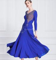 ballroom dress woman ballroom dresses dance blue customize ballroom dress competition lycra M 18183