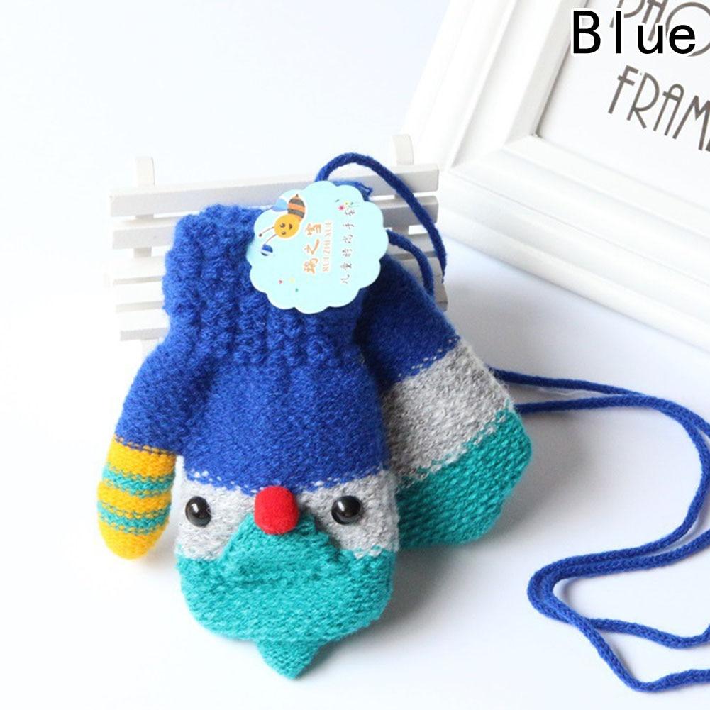Fashion Girls Boy Cartoon Gloves Kids Children Warm Lanyard  Mitten Cute Whole Covered Finger Rabbit Bear Soft For 1-5 Years