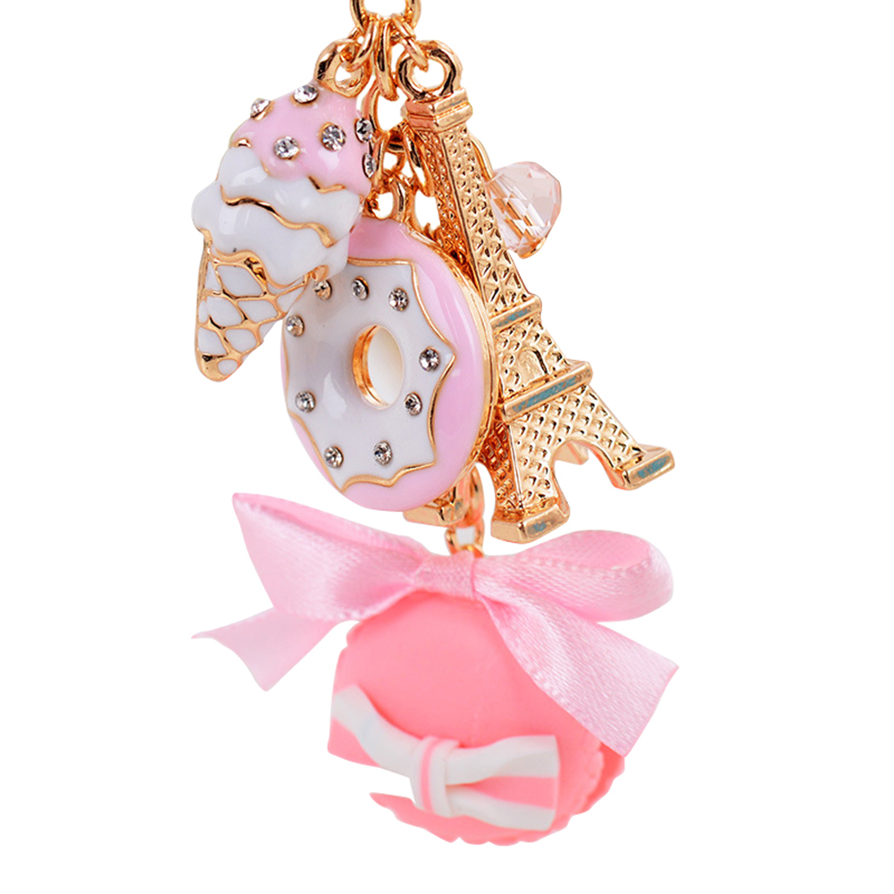 2019 NEW Lovely Alloy Eiffel Tower Keychain Resin Macaroons Sweets Keyring Key Holder Jewelry Porte Clef