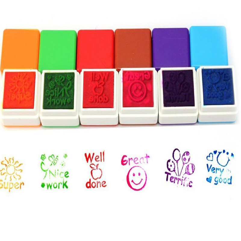 US $2 58 11% OFF|2019 New 6pcs/set Teachers Stamp Praise Reward Stamps  Sticker DIY English Words Ink Pad Stationery Gift-in Stamps from Home &  Garden