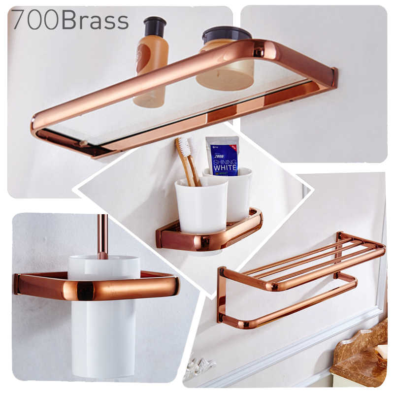 Luxus Rose Gold Bad Zubehör Messing Wand Montiert Wc Pinsel Papier Handtuch Halter Rack Glas Regal Bad Hardware Set