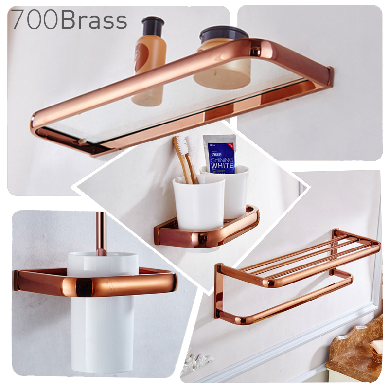 Luxury Rose Gold Bathroom Accessories Brass Wall Mounted Toilet Brush Paper Towel Holder Rack Glass Shelf Bath Hardware Set
