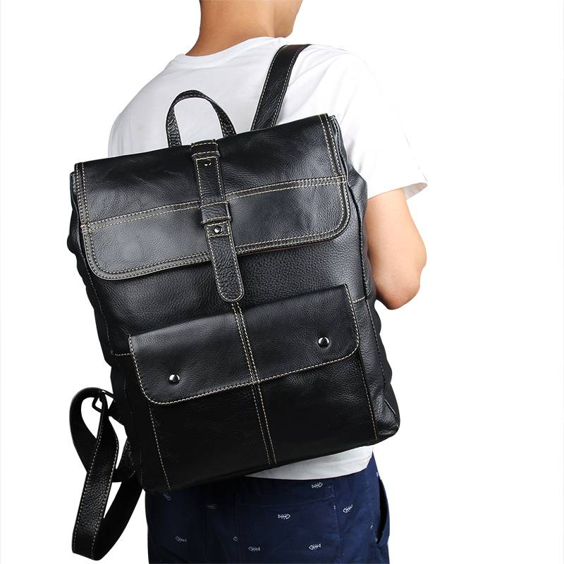 Men Cow Leather Black Backpacks School Bags for Teenagers Boys Travel Large Capacity 15
