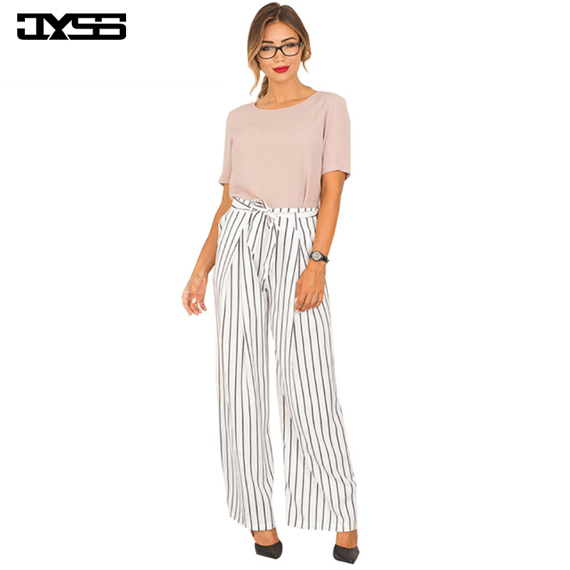 Women's Clothing Bottoms Jyss New Hot Fashion Summer Autumn Women Pants Hight Elastic Waist Striped Long Pant With Sashes Wide Leg Pants 80668 Rapid Heat Dissipation