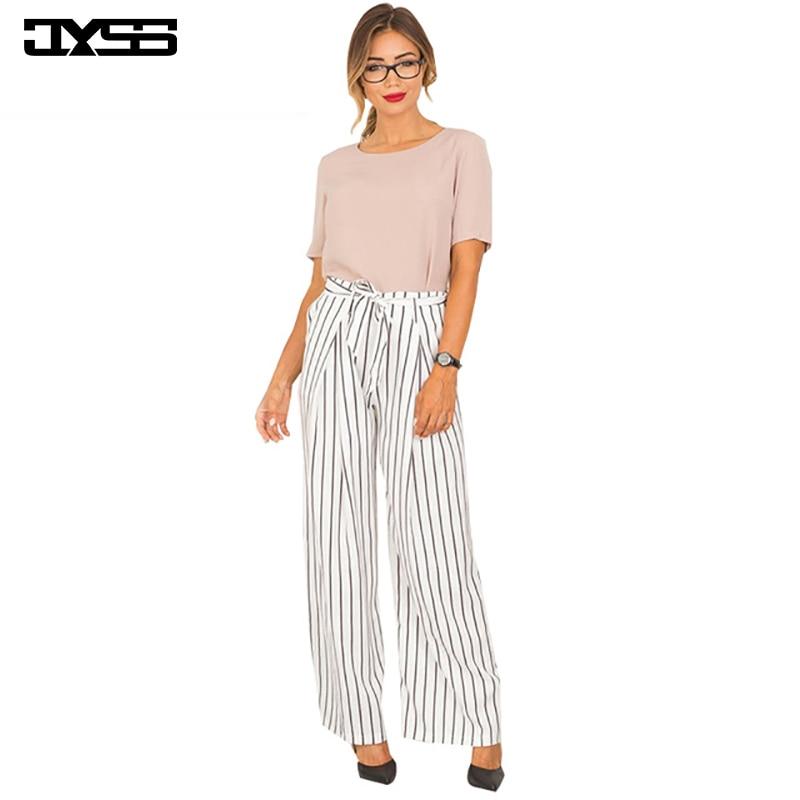 JYSS New Hot Fashion Summer Autumn Women Pants Light Elastic Waist Striped Long Pant With Sashes Wide Leg Pants 80668
