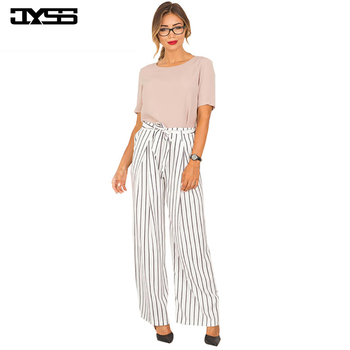 JYSS New hot fashion summer Autumn women pants light elastic waist striped long pant with sashes wide leg pants 80668 цена 2017