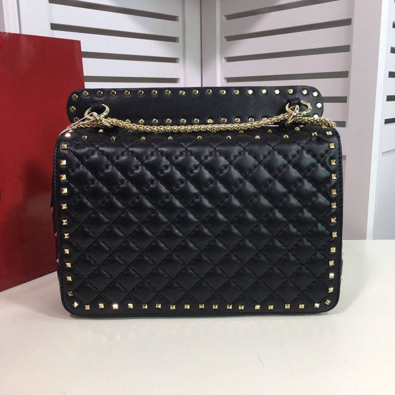 Fashion famous new Genuine leather woman handbag high quality rivets chain lady shoulder bag luxury famous brand purse-in Shoulder Bags from Luggage & Bags    1