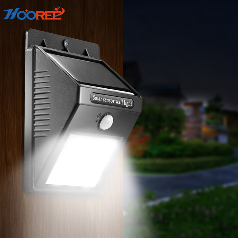 HOOREE 6 LED Outdoor Solar Light Body Motion Sensor Solar Lamp Waterproof IP65 Solar Power Garden Light Sun Light LED Wall Lamp led solar lamp waterproof ip65 20led solar light powered garden led solar light outdoor abs wall lamp stairs lights