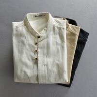 Linen Shirts Men 2018 new Spring Summer Thin Stand Collar Slim Fit White Blue Men Shirt Long Sleeve brand clothing A