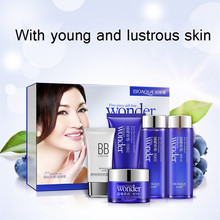 BIOAQUA Blueberry 5pcs Skin Care Set Hydrating Essence Face Cream Facial Cleanser Brightening BB Cream Essence Emulsion Toner