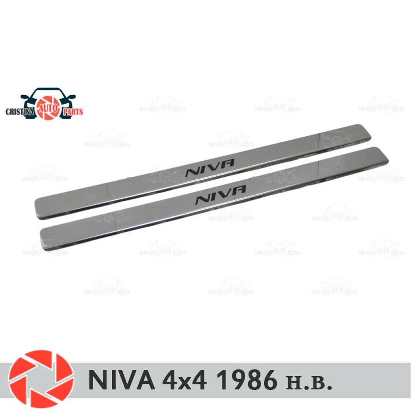 Soleiras de porta para Lada Niva 4x4 1986-2018 proteção guarnição scuff placa passo interior car styling decoração versão longa letras pretas