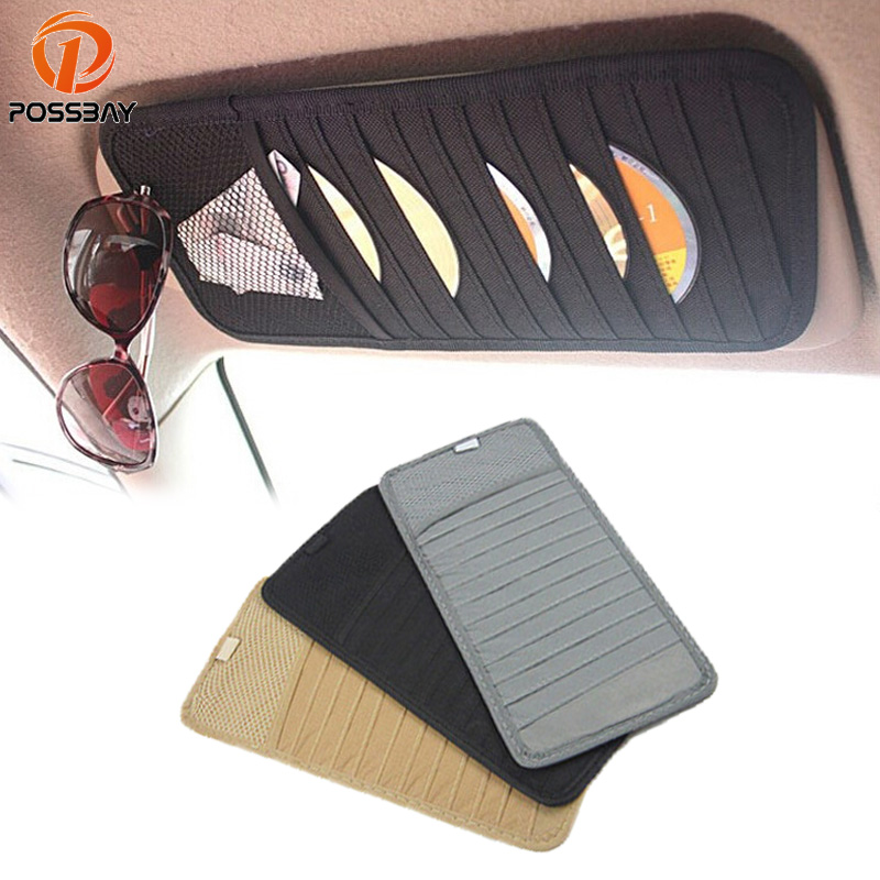 POSSBAY Car Styling Car Sun Visor CD DVD Card Mesh Organizer Glass Pen Stowing Case Auto Multifunctional Storage Holder Clip BagPOSSBAY Car Styling Car Sun Visor CD DVD Card Mesh Organizer Glass Pen Stowing Case Auto Multifunctional Storage Holder Clip Bag