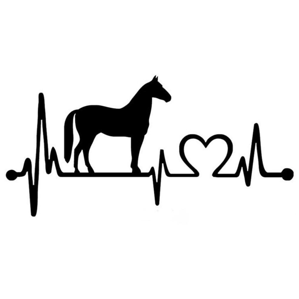 20.5*9.9CM Car Sticker Horse Heartbeat Lifeline Monitor Creative Funny Animal Car Sticker Black And White