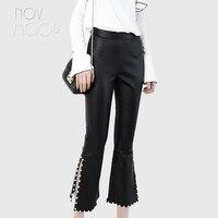 Women black genuine leather real lambskin flare pants trousers pearl decor side split cropped above ankles pantalon femme LT2407