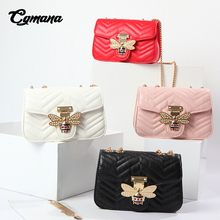 CGMANA Brand Chain Shoulder Bag For Women 2018 Luxury Handbags Bags Designer Famous V Pattern Leather Sac A Main