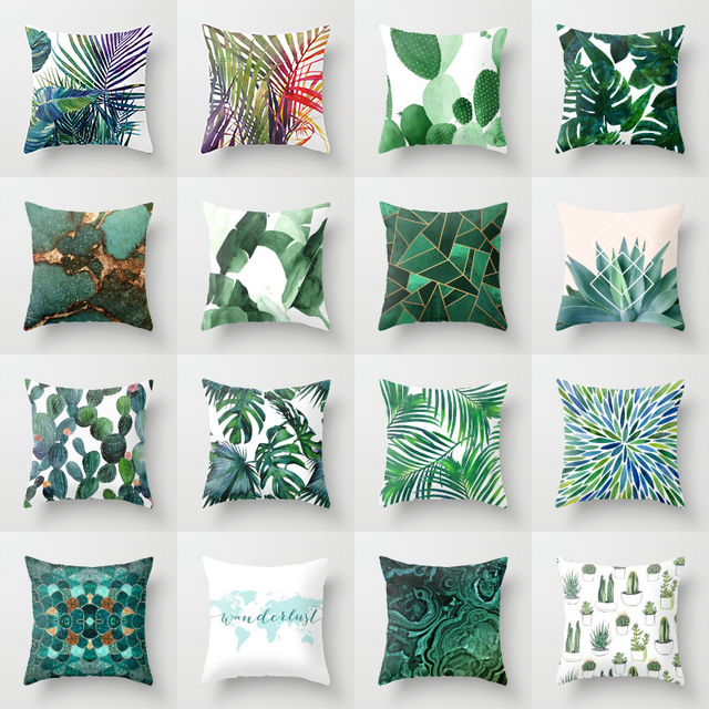 Retro Green Leaves Linen Cushion Cover