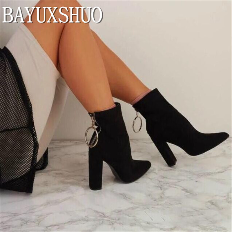 BAYUXSHUO New Women Ankle Boots Roman High Heels Square Heel Booties Fashion Brand Design Ladies Party Shoes Woman White Black