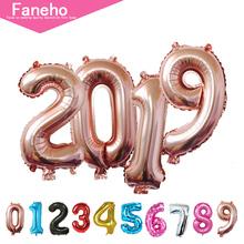 16inch Rose gold Number 2019 Foil Balloon Happy New Year Party Decor Brithday Celebration Supplies
