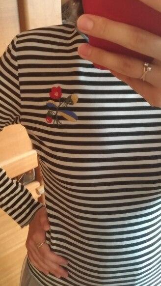 Toyouth Для женщин Футболки Повседневное o Средства ухода за кожей Шеи Полосатый футболка с длинным рукавом с Вышивка для Для женщин верхняя одежда на сезон весна-осень