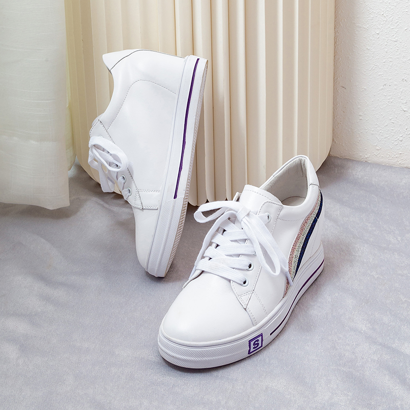 Zapatillas Cuero Las Deporte 5 Plataforma Zapatos blanco 5 Mujeres 2019 Casuales Negro Cm De Primavera Moda Ew4XI1