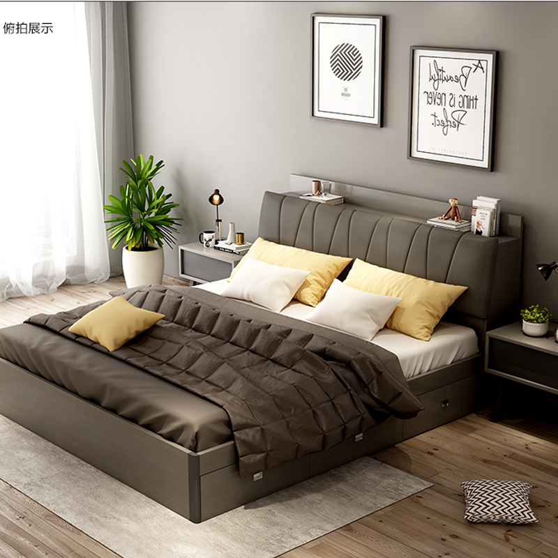 Modern Style King Size Bed Grey Bed Room Furniture With