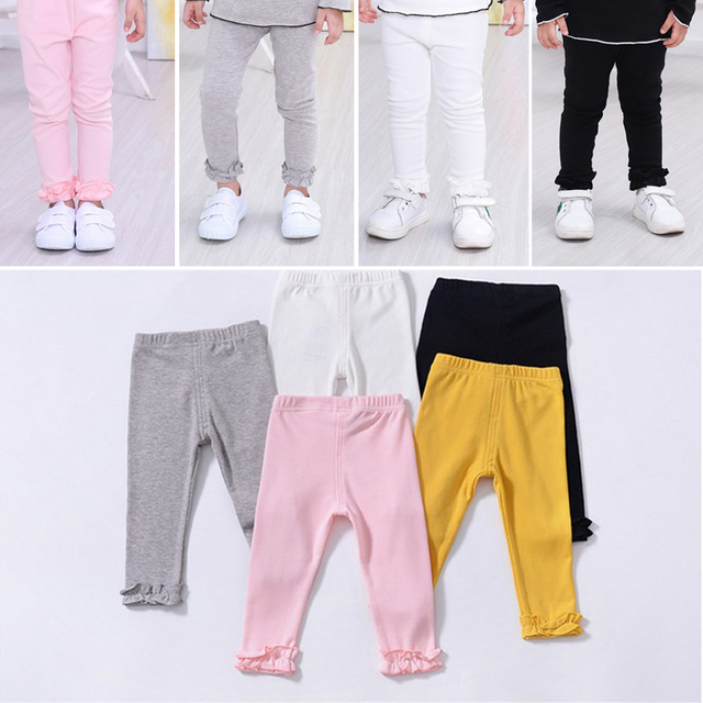 Toddler Kids Baby Girl Boy Pant Leggings Ruffles Solid Casual Long Pants Soft Cotton Trousers Baby Clothing Unisex