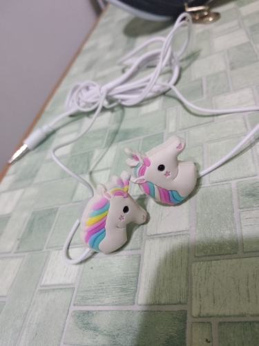 Cute Cartoon Unicorn Wired Earphones With Mic photo review