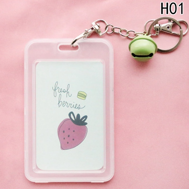 cartoon pvc credit card holder keyring card holder sleeve set bus card case bag birthday gifts - Card Holder With Keyring