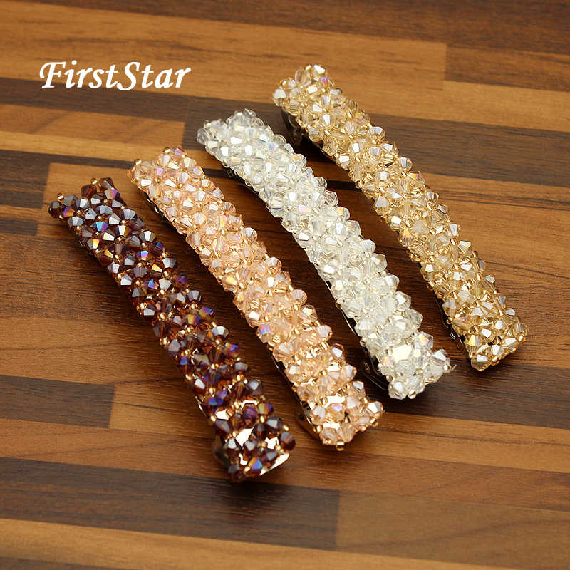 FirstStar Handmade Beads Rhinestone Hair Barrette Bling 4 Row Pink And Purple Crystal Hair Clip For Women Girls Hair Jewelry