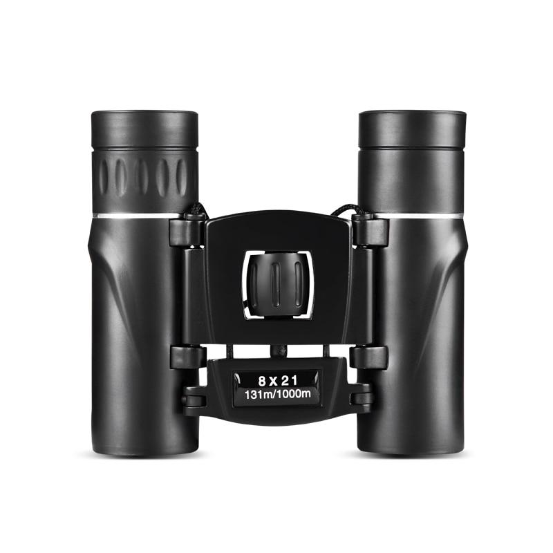 8x21 Compact Zoom Binoculars Long Range Folding HD Powerful Mini Telescope Bak4 FMC Optics Hunting Sports Black Kids Telescope 2
