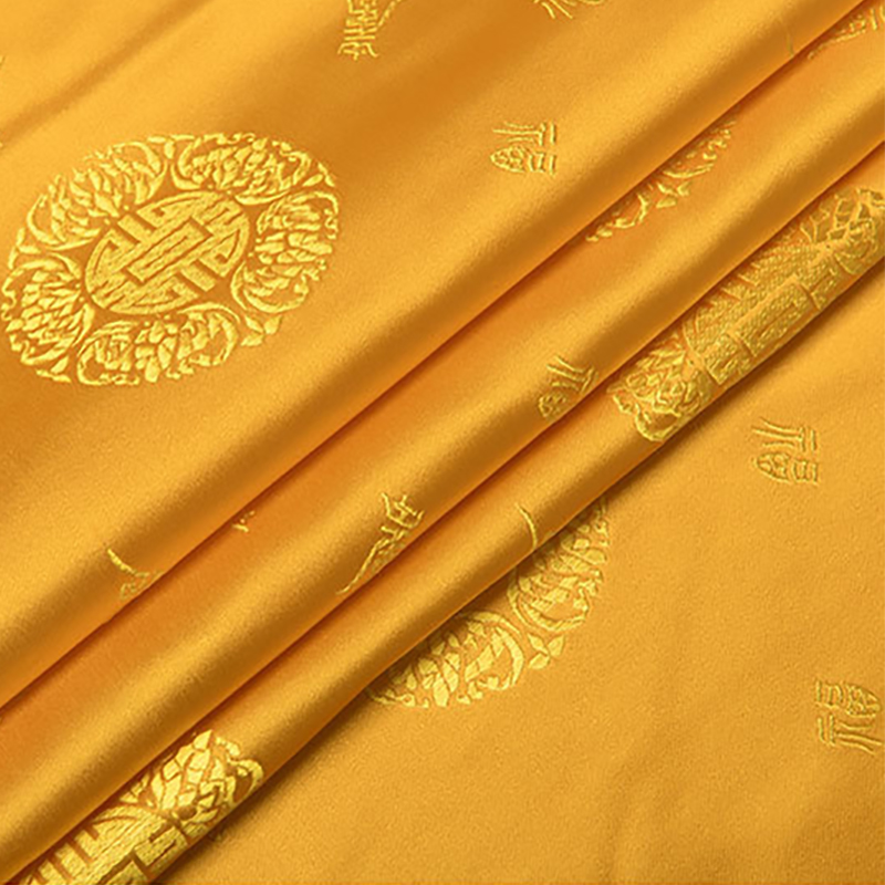 new arrival brocade yellow longevity pattern fabric for patchwork tissue telas dress felt bed sheet children cloth 100x75cm