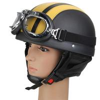 CARCHET Unisex Half Helmet Motor Motorcycle Open Face Helmet with Visor Protective Goggles Scooter Motorcycle Riding Equipment