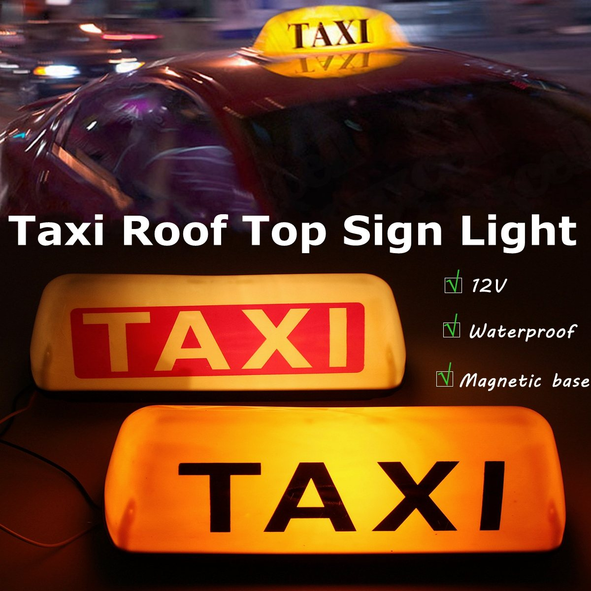 Taxi Roof Waterproof Sign Magnetic Taximeter Cab Top Lamp 12V DC Light izztoss yellow taxi cab roof top sign light lamp magnetic large size car vehicle indicator lights