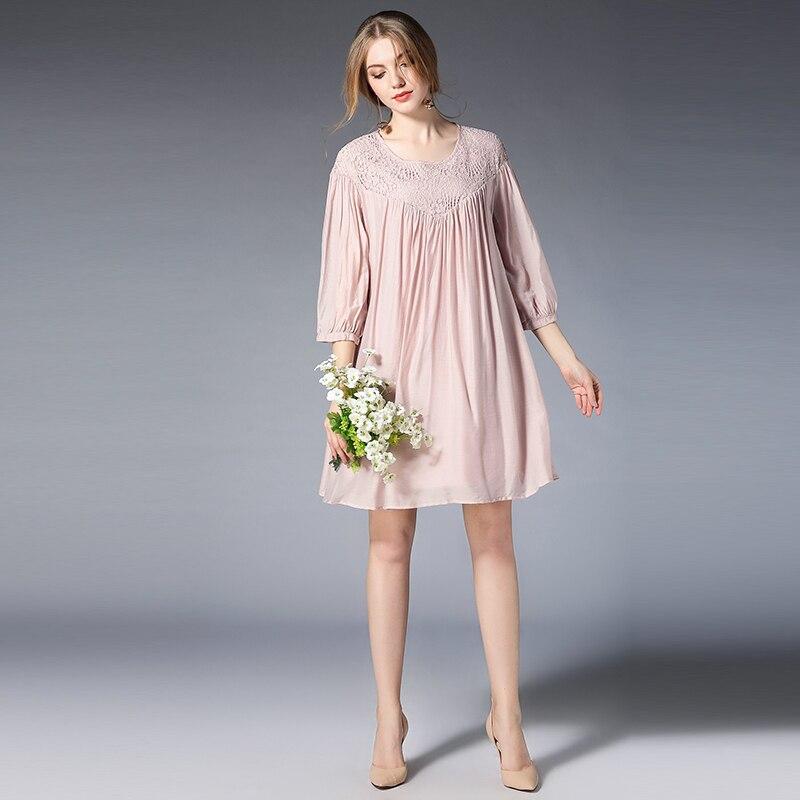 2018 Summer Woman Elegant Dress Casual Chiffon Cotton Lace Floral Maternity Dresses Lactation Clothes Tencel Boat Neck Plus Size