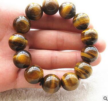 Pulsera de piedra de ojo de tigre amarillo Natural pulsera de piedra de tigre hombres y mujeres modelos de parejas envío gratis