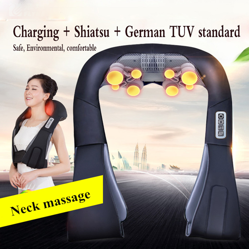 Electrical Neck Shoulder Back Body Massager Shiatsu Kneading Massage Pillow with Infrared Heating Car Home Masaj Device with BoxElectrical Neck Shoulder Back Body Massager Shiatsu Kneading Massage Pillow with Infrared Heating Car Home Masaj Device with Box