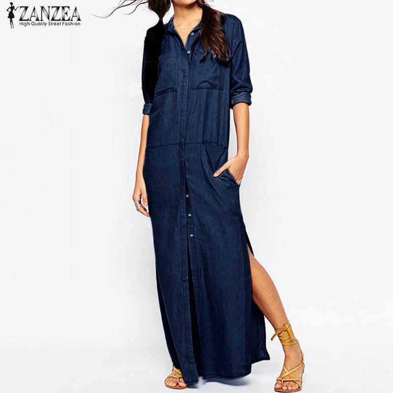 255f6abf 2018 ZANZEA Women Turn-down Collar Long Sleeve Denim Blue Buttons Long  Shirt Dress Casual