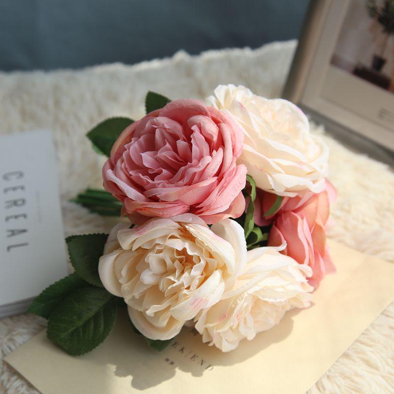 Silk Rose Bouquet Blush Pink Flower Bouquet Dusty Blue Wedding
