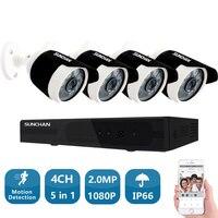 SUNCHAN 4CH CCTV системы 1080P HDMI AHD DVR 4 шт. 2.0MP ИК Открытый безопасности камера 2000TVL комплект