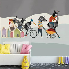 Custom hand-painted art murals animal group friends background wall manufacturers wholesale wallpaper custom photo
