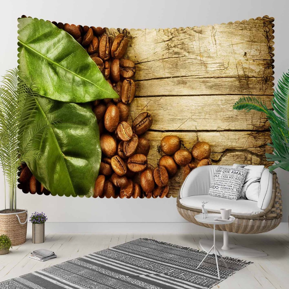 Else Brown Wood On Coffee Beans Green Leaves Floral 3D Print Decorative Hippi Bohemian Wall Hanging Landscape Tapestry Wall Art