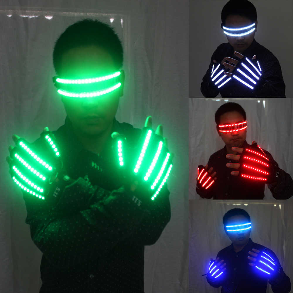 LED Glow Gloves Rave Light Flashing Finger Lighting Glow Mittens Magic Black luminous gloves Party supplies halloween