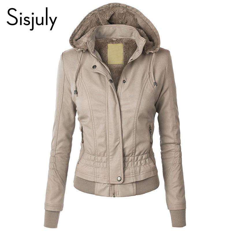 Sisjuly Jacket Coat Women 2019 Winter Slim Zipper Hooded Coat Female Warm Casual Outerwear Solid 2xl Fall Leather Jacket Coats