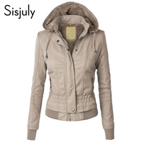 Sisjuly Jacket Coat Women 2019 Winter Slim Zipper Hooded Coat Female Warm Casual Outerwear Solid 2xl Fall Leather Jacket Coats